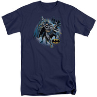 JLA/BATMAN COLLAGE-S/S ADULT TALL-NAVY