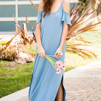 Color Shoulder Maxi Dress