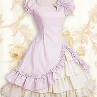 Classic Cotton Sweetheart Puff Sleeves Knee-length Ruffles Classic Lolita Dress