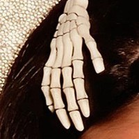 Sold Out - keleton Hand Hair Clips in White