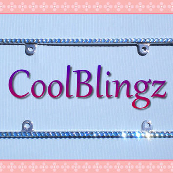 Thin LIGHT BLUE Rhinestone Crystal Diamond Bling License Plate (Metal) Frame