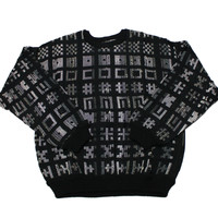 Vintage 90s Black/Gray Geometric Hashtag Print Sweater Mens Size Medium