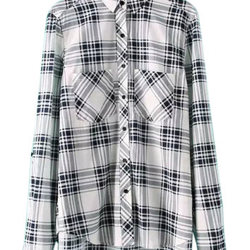 Black And White Plaid Pocket Long Sleeve Shirt