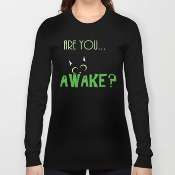 Are you AWAKE Funny cat clipart, animals lover shirt, pet person, sweet kitten, green big eyes Long Sleeve T-shirt by Peter Reiss
