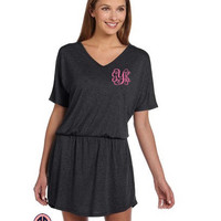 VINYL Dress Monogram Women's Lightweight V-Neck T-shirt Dress