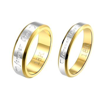 Engraving Name Anniversary Rings for Women & Men Gold-color Jewelry Silver Forever Love Letter Wedding Couple Ring Sale