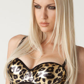 Metallic Leopard push-up bra in Gold