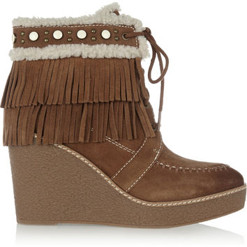 Sam Edelman - Kemper faux shearling-lined fringed suede wedge boots