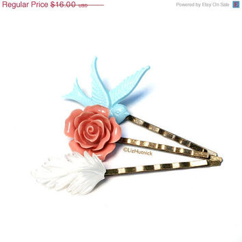 Christmas in July SALE True Romance Bobby Pins - Bird and Flower Bobbies
