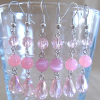 Pink Crystal Teardrop & Round Glass Bead Dangle Earrings, Handmade, Original Design, Unique, Fashion Jewelry, Sophisticated, Simple Elegance