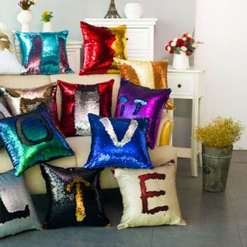 Two Tone Glitter Reversible Sequin Magical Color-Changing Pillows ✨