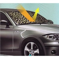 Tan Beige Leopard Animal Print Car Front Windshield Auto Accordion Style Sunshade - Jumbo Size