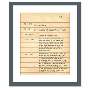 Adventures of Huckleberry Finn by Mark Twain - Library Card Art Print - Book Lovers Poster - Library Poster - Book Gift - English Teacher