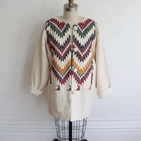 Vintage 70s White Woven Wool Embroidered Bohemian Southwest Coat