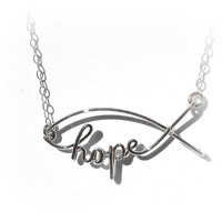 Hope Fish in Sterling Silver Christian Icthys Symbol