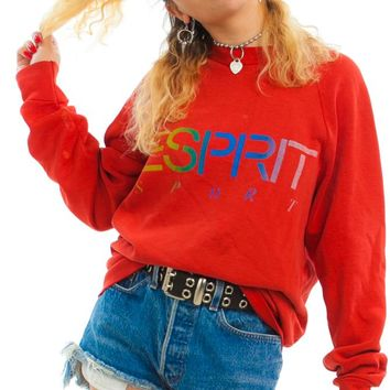 Vintage 90's Esprit Distressed Rainbow Sweatshirt - One Size Fits Many