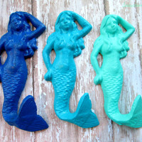 FREE SHIPPING Set of 3 Cast Iron Mermaid Hooks True Blue Calypso Blue Bahama Blue- Coastal Decor, Mermaid Decor, Beach Decor, Nautical Decor