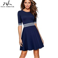 Nice-forever Vintage Striped Contrast Patchwork Causal Half Sleeve A-Line Pinup Business Women Flare Dress