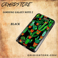 Cactus Black Pattern For Samsung Galaxy Note 2 Case - Gift Present Multiple Choice