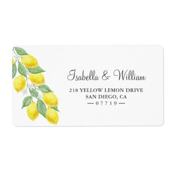 Modern Lemon Branch Summer Wedding Address Label