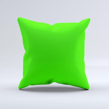 Solid Lime Green V2  Ink-Fuzed Decorative Throw Pillow