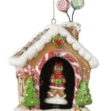 Christmas Ornament - Gingerbread House And Girl Cookie