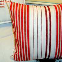 Chenille vertical stripes contemporary 18x18 pillow cover