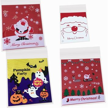 10pcs Christmas Halloween Candy Biscuit Bags Santa Claus Pumpkin Printed Self-Adhesive Cookie Cellophane Bag For Food Package