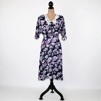 70s 80s Chiffon Floral Dress Spring Dress Women Medium Lace Collar Shirtwaist Midi Black Purple Short Sleeve Vintage Clothing Women Clothing