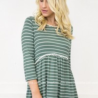 Sage'n Lace Striped Top