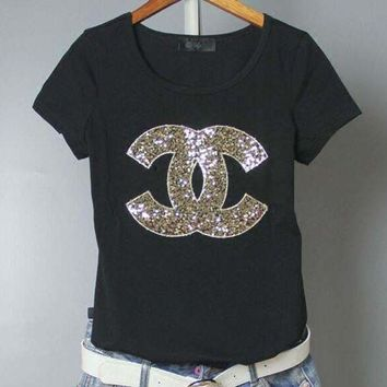 Chanel Fashion Sequins Logo Short Sleeve Shirt Top Tee