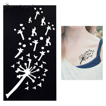 1 PC Flying Dandelion Pattern Waterproof Tattoo Stencil Sexy Woman Body Art Small Henna Indian Tatoo Sticker Stencil Product G21