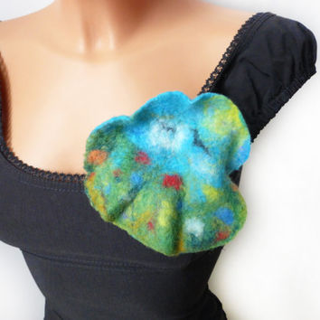 Brooch, felt broch, felt painting, felted landscape, felted wool, Accessories, Felt Jewelry, Handmade, unique brooch,Wool Painting