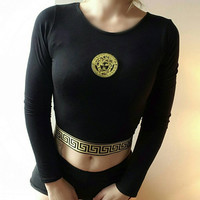 Reworked versace crop top
