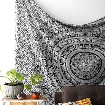 Black & white Indian Mandala Tapestry Bohemian Decorative Wall Art Hippie Wall Hanging Hippy Throw Bedspread Boho tapestries wall tapestry