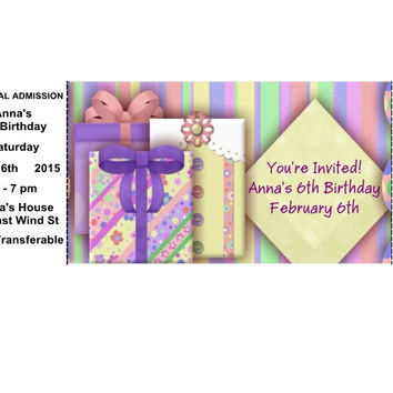 Personalized Birthday Party Invitation Tickets
