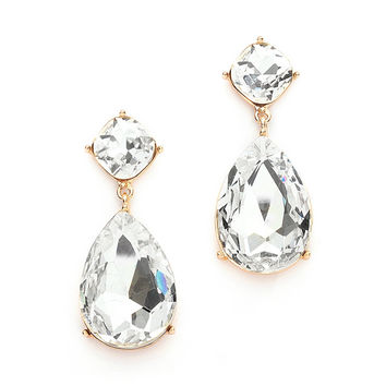 Chunky Crystal Dangle Earrings set in Gold