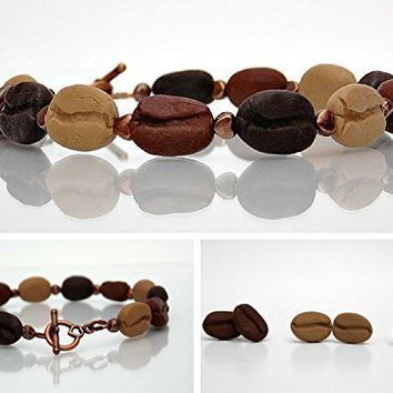 1 Bracelet & 3 Pairs of Earrings - Coffee Bean Jewelry Gift Set - Scented or Unscented