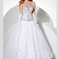 Sweetheart Beaded Top Tulle Ball Gown Prom Dress Tiffany Designs 61136