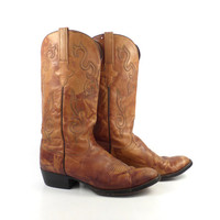 Lucchese Cowboy Boots Vintage 1980s Brown Western Men's size 8 D