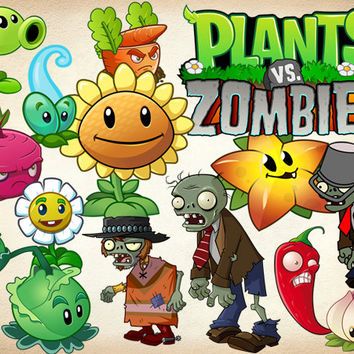 50 Plants vs Zombie Clipart PNG Plant Digital Graphic Image Zombie Clip Art Scrapbook Invitations INSTANT DOWNLOAD printable 300 dpi