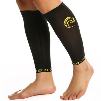 CFR Copper Compression Recovery Calf Sleeve Shin Splint Leg Support Sleeves for Running Cycling Travelling Muscles Joints Pain Relief Men & Women UPS Post