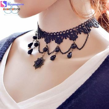 SUSENSTONE Fashion Girl Handmade Gothic Retro Vintage Lace Collar Choker Necklace
