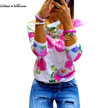 DCCKU62 2016 Fashion Autumn Women Girl Long Sleeve Floral Print T Shirts Crew Neck Casual Tops