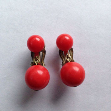 Vintage red dangle ball earrings Japan costume jewelry