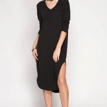 Solid Long Sleeve Midi Dress