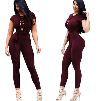 Wine Red Cap Sleeve Lace Up Design Jumpsuit