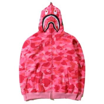 Bape Aape New Style Autumn And Winter Loose Leisure Shark Tiger Print Camouflage Couple Hooded Long Sleeve Coat Top Pink