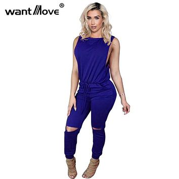 Wantmove 6 colors women one pieces jumpsuit 2017 autum spring casual sleeveless bandage bodysuit full female romper AT066