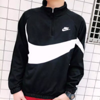 NIKE New fashion hook letter print men thick keep warm long sleeve top sweater Black White